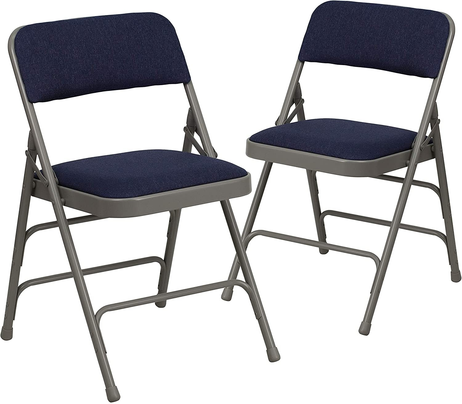 Flash Furniture 4 Pack Metal Frame Fabric Folding Chairs, Navy