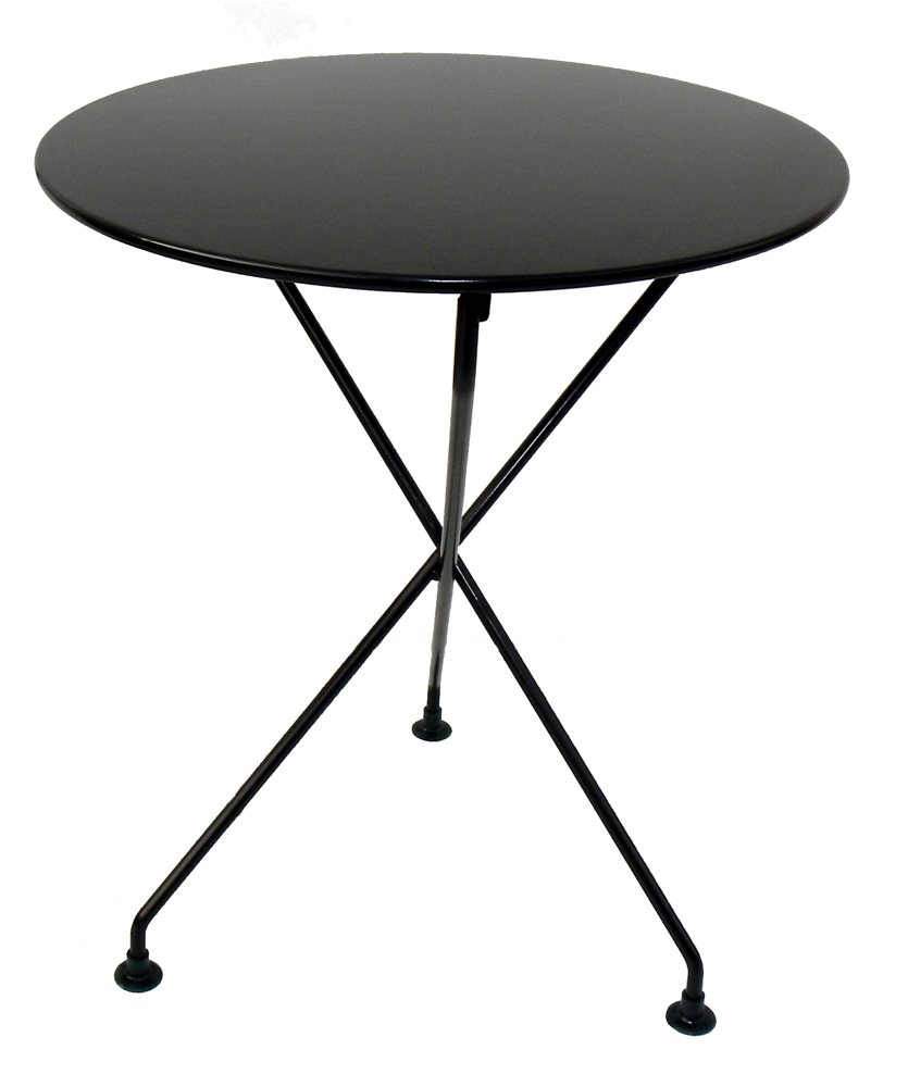 Furniture Designhouse 5598s French Bistro European Cafe 3 Leg Folding Bistro Table with 24-Inch Round Metal Top, Jet Black Frame