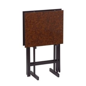 Gate House Furniture Item 2274 Burl Set Of 2 Folding Snack Tables With Stand