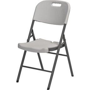 HomCom Folding Chair 2 PACK w/ Molded Seat & Back - White Granite Color