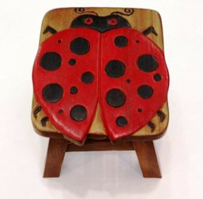 Ladybug Hand Carved and Hand Painted Wooden Foot Stool