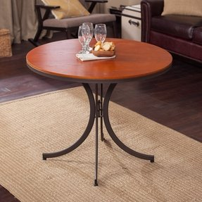 Meco Innobella Destiny 36 in. Round Wood Folding Table - Mission Rosso