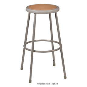 "Metal Lab Stool - Fixed Height (30""H) - Pack of 3"