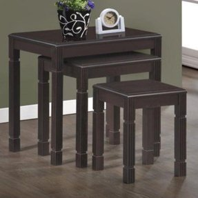 Monarch Specialties 3-Piece Solid Wood Nesting Table Set, Espresso