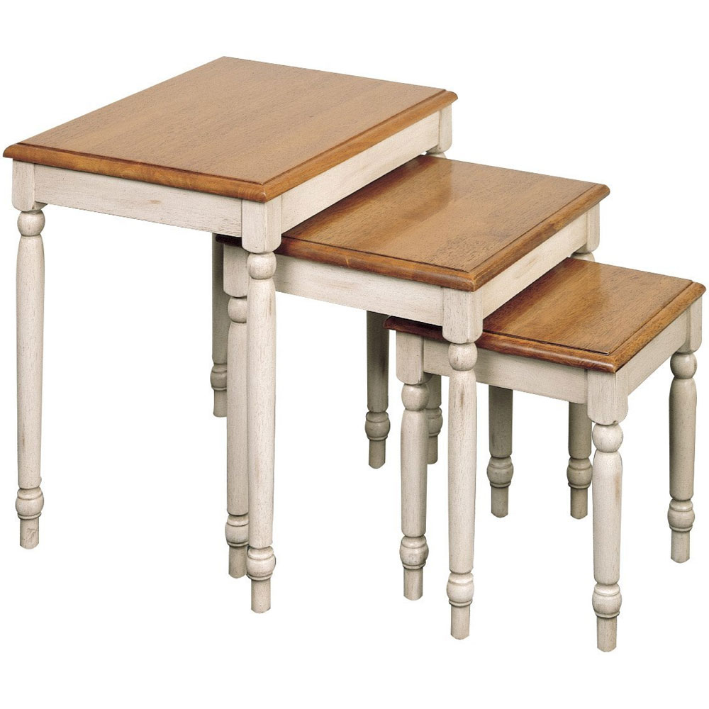Nesting Tables 3 Pc Set in Antique White u0026 Cherry 2 Tone Finish  sc 1 st  Foter : set of 3 tables - pezcame.com