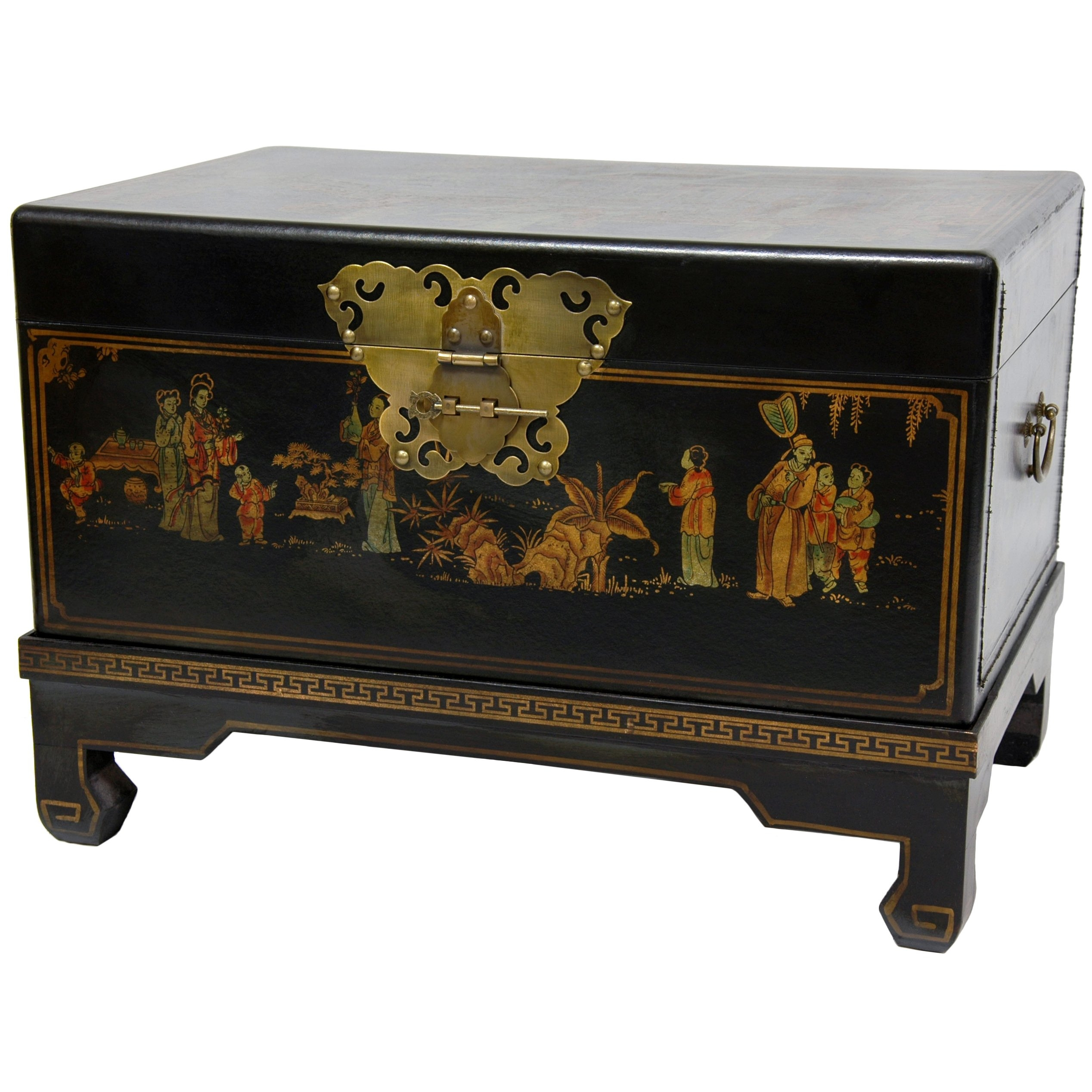 Oriental Furniture Asian Decorative Furnishings, 26 Inch Black Lacquer  Small Trunk Oriental Hope Chest