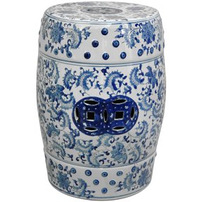 Oriental Furniture Traditional Asian Decor 18-Inch Blue and White Chinese Porcelain Garden Stool, Round with Floral Design