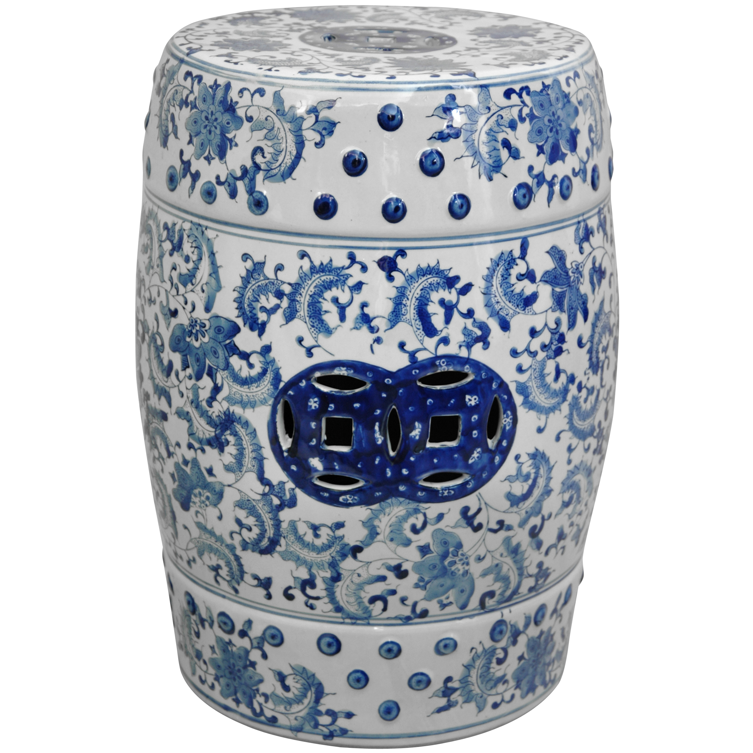 Superbe Oriental Furniture Traditional Asian Decor 18 Inch Blue And White Chinese  Porcelain Garden Stool,