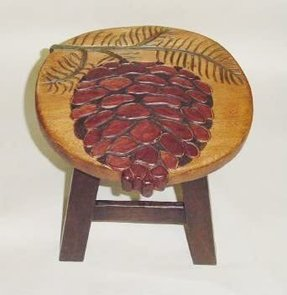 Pinecone Hand Carved and Hand Painted Wooden Foot Stool