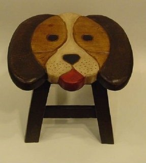 Puppy Dog Hand Carved and Hand Painted Wooden Foot Stool