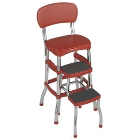 Retro Chair/counter Stylish Chrome Finish Stool - Red