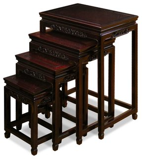 Rosewood Flower & Bird Design Nesting Tables - Dark Cherry