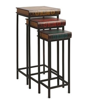 Set of 3 Braedon Antique Book Inspired Decorative Nesting Tables