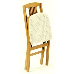 Simple Mission Folding Chair in Warm Oak Finish - Set of 2