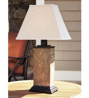 Slate Outdoor Table Lamp With All-Weather Shade