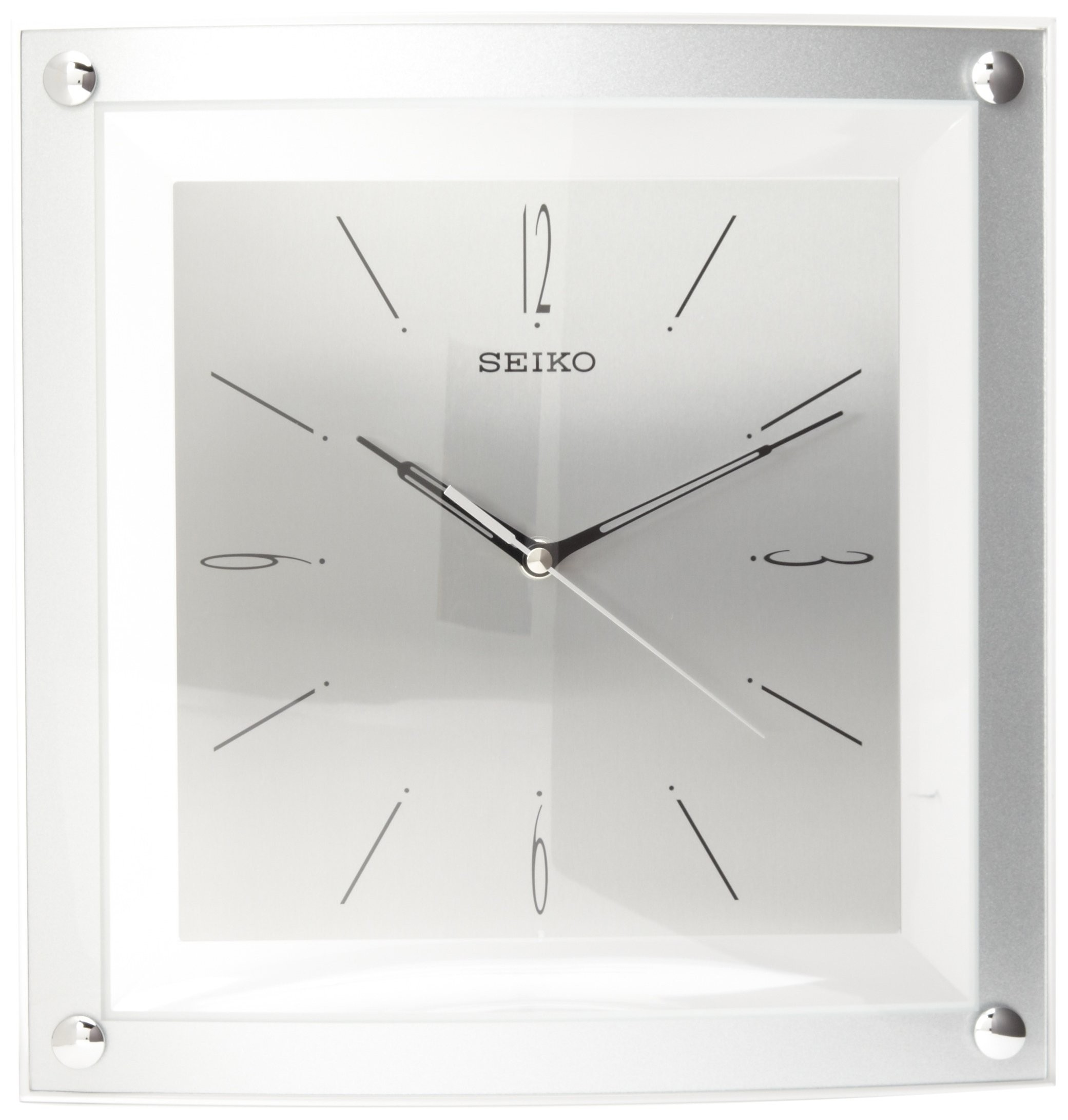 Seiko Wall Clock Quiet Sweep Second Hand Clock Silver Tone Metallic Case