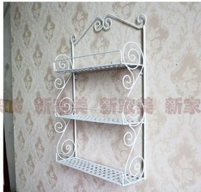 Classic Elegant Metal Wall Mounted Shelves Kitchen Spice Rack Bathroom Accessory Storage Multi Purpose Organizer