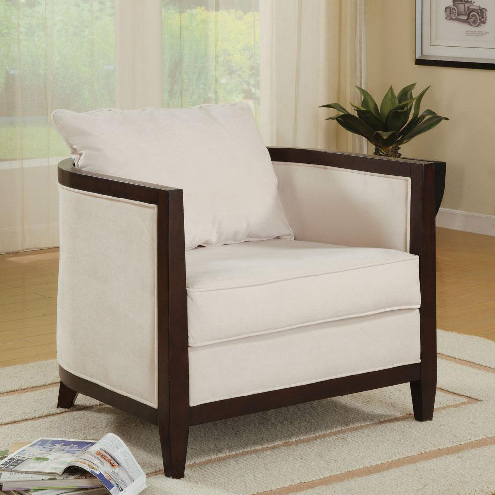 Genial BARREL ACCENT CHAIR With WOOD TRIMMED WHITE PILLOW BACK