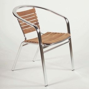 Euro Style Shirley Side Chair (Set of 6) in Teak and Aluminum