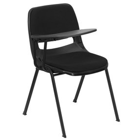 Flash Furniture RUT-EO1-01-PAD-RTAB-GG Padded Black Ergonomic Shell Chair with Right Handed Tablet Arm