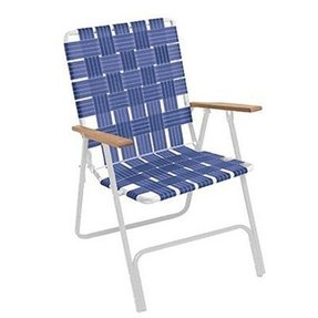 Rio Brands BY105-0138 Web Chair, Hi-Back, White Powder-Coated Steel Frame & Blue Webbing - Quantity 6