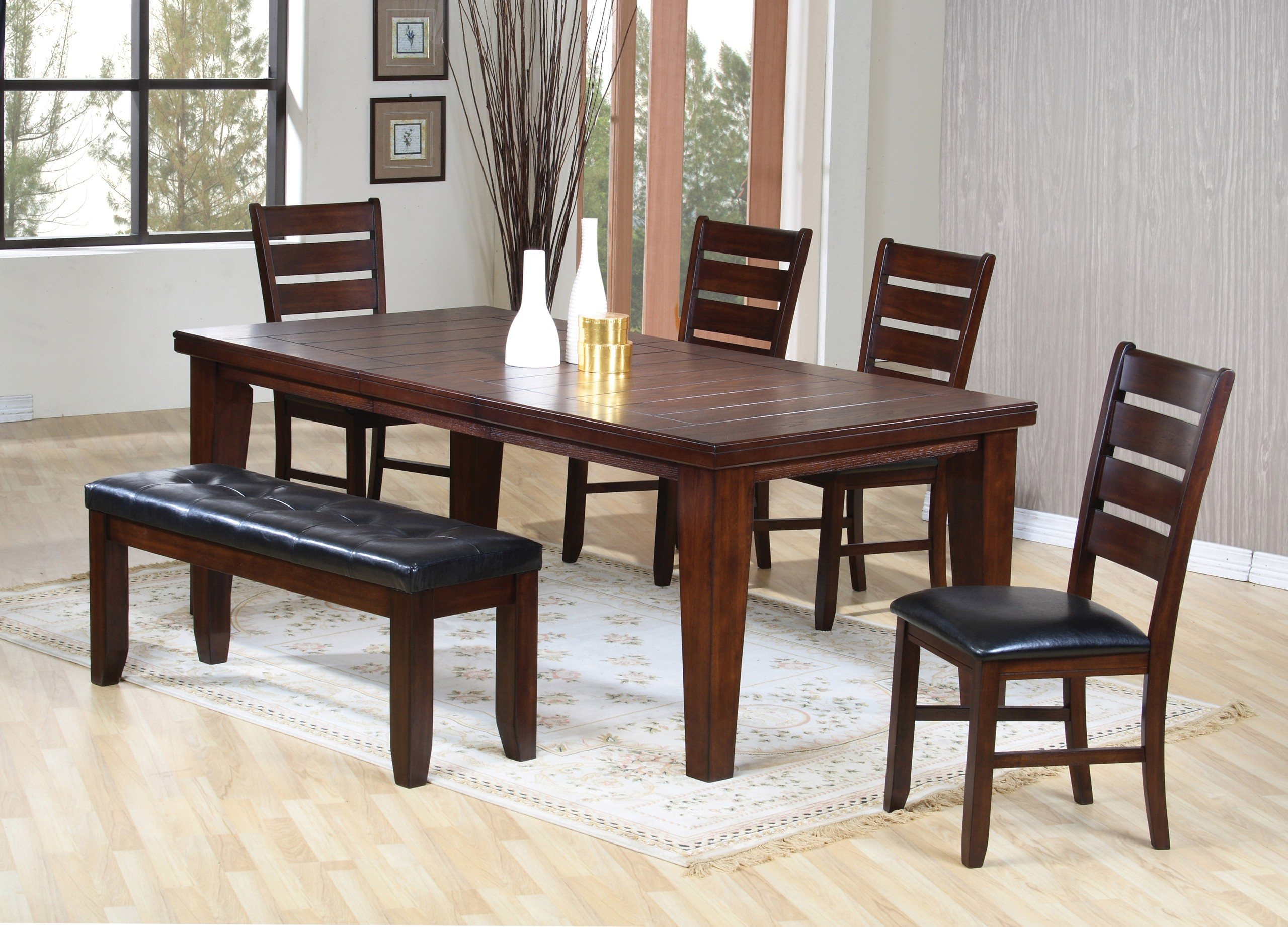 6pc Dining Table \u0026 Chairs Set with Ladder Back Dark Oak Finish & Dining Table With Chairs And Bench - Foter