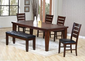 6pc Dining Table Chairs Set With Ladder Back Dark Oak Finish