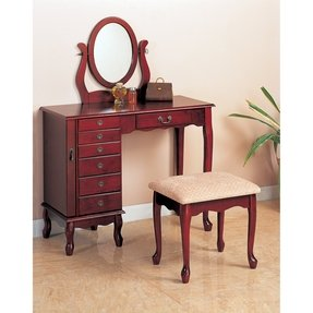 Coaster Cherry Finish Storage Vanity Table Set w/Mirror & Stool