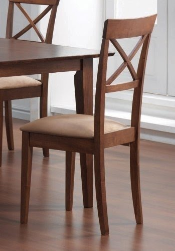 Coaster Dining Chairs, Cross Back Design, Walnut Finish, Set Of 2