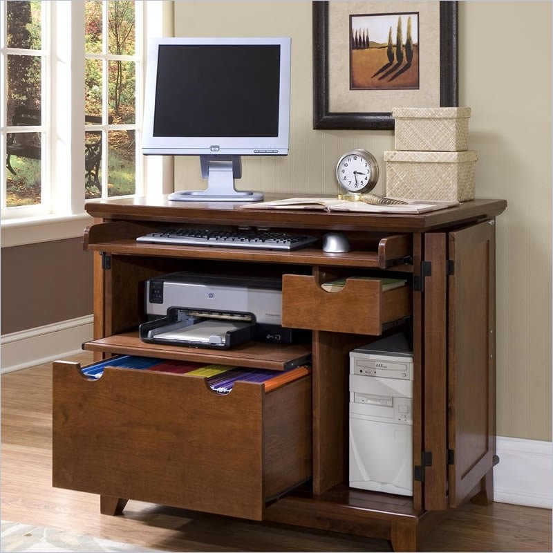 Home Style 5180 19 Arts And Crafts Compact Office Cabinet, Cottage Oak  Finish