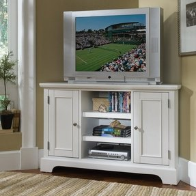 Home Styles 5530-07 Naples Corner Entertainment Credenza, White Finish
