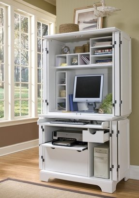 Home Styles 5530-190 Naples Compact Computer Desk and Hutch, White Finish
