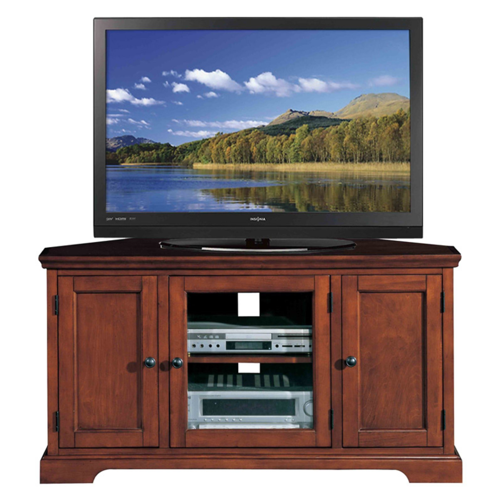 Merveilleux Leick Riley Holliday Westwood Corner TV Stand With Storage, 46 Inch, Brown  Cherry