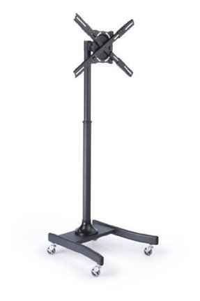 Steel Floor TV Stand with Wheels for a 27 to 60 inch Television, Height-Adjustable, Rotating and Tilting - Black