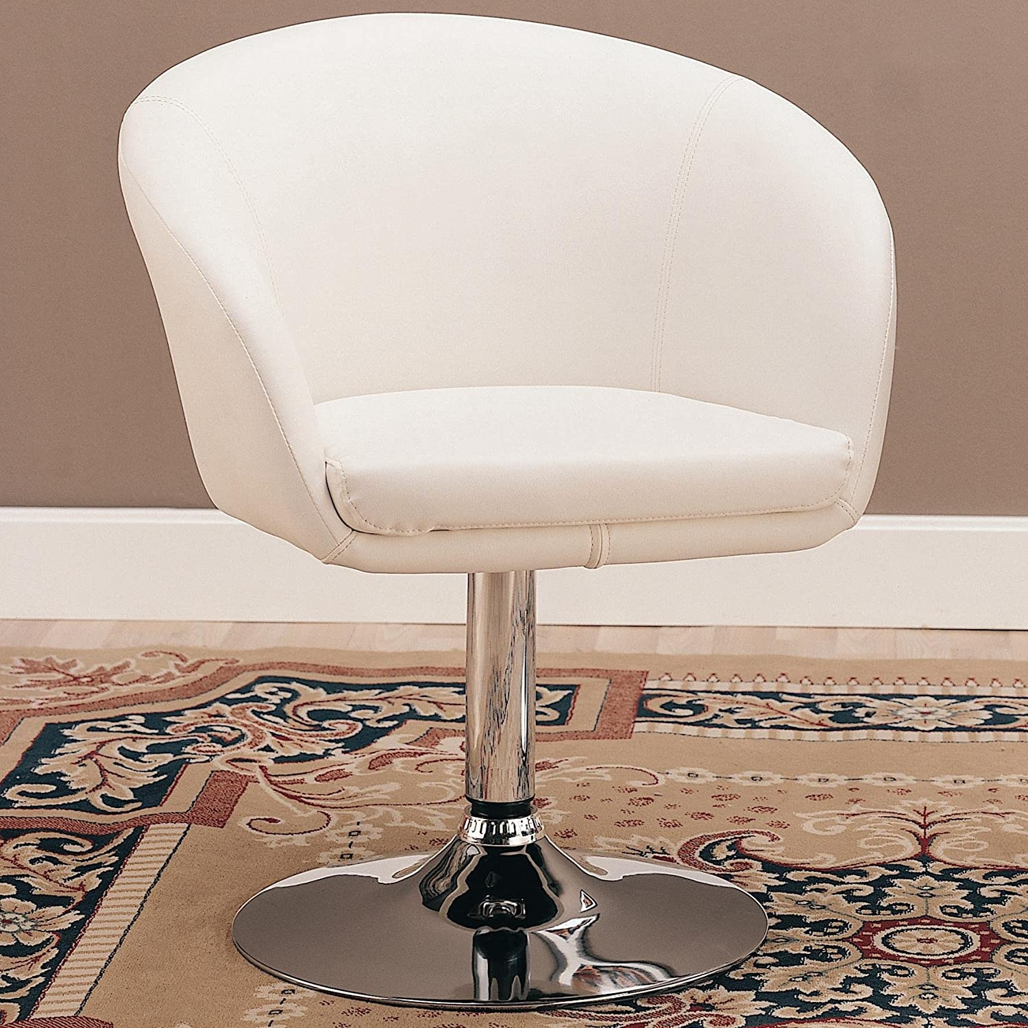 Charmant Swivel Chair In White Bycast Leather Like Vinyl