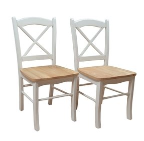 TMS Tiffany Dining Chair, Set of 2, White/Natural