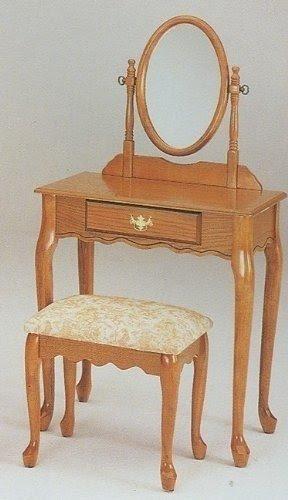 Traditional Queen Anne Style Oak Finish Wood Vanity Set W/Stool U0026 Mirror