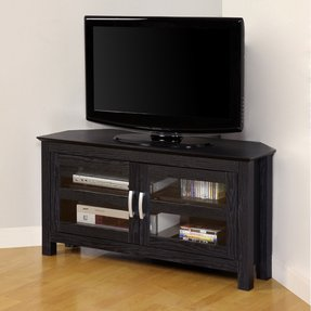 Walker Edison 44-Inch Corner Wood TV Stand Console, Black