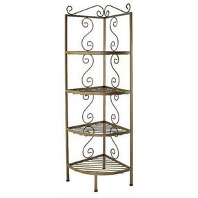 "18"" Wrought Iron Corner Bakers Rack Finish: Aged Iron, Brass Tips: With Brass Tips"