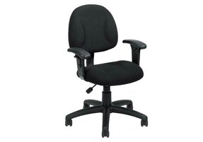 Boss Fabric Deluxe Posture Task Chair with Arms, Black