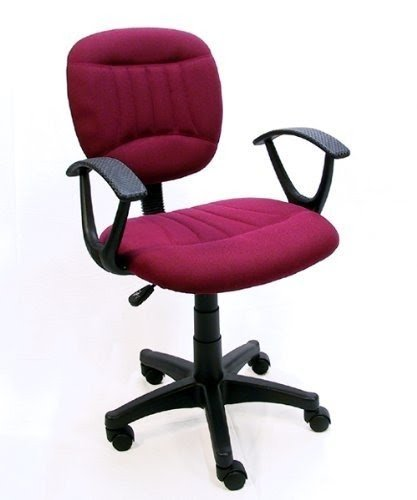 Burgundy Fabric Office Chair W/Arms, Gas Lift U0026 Great Student Or Computer  Chair