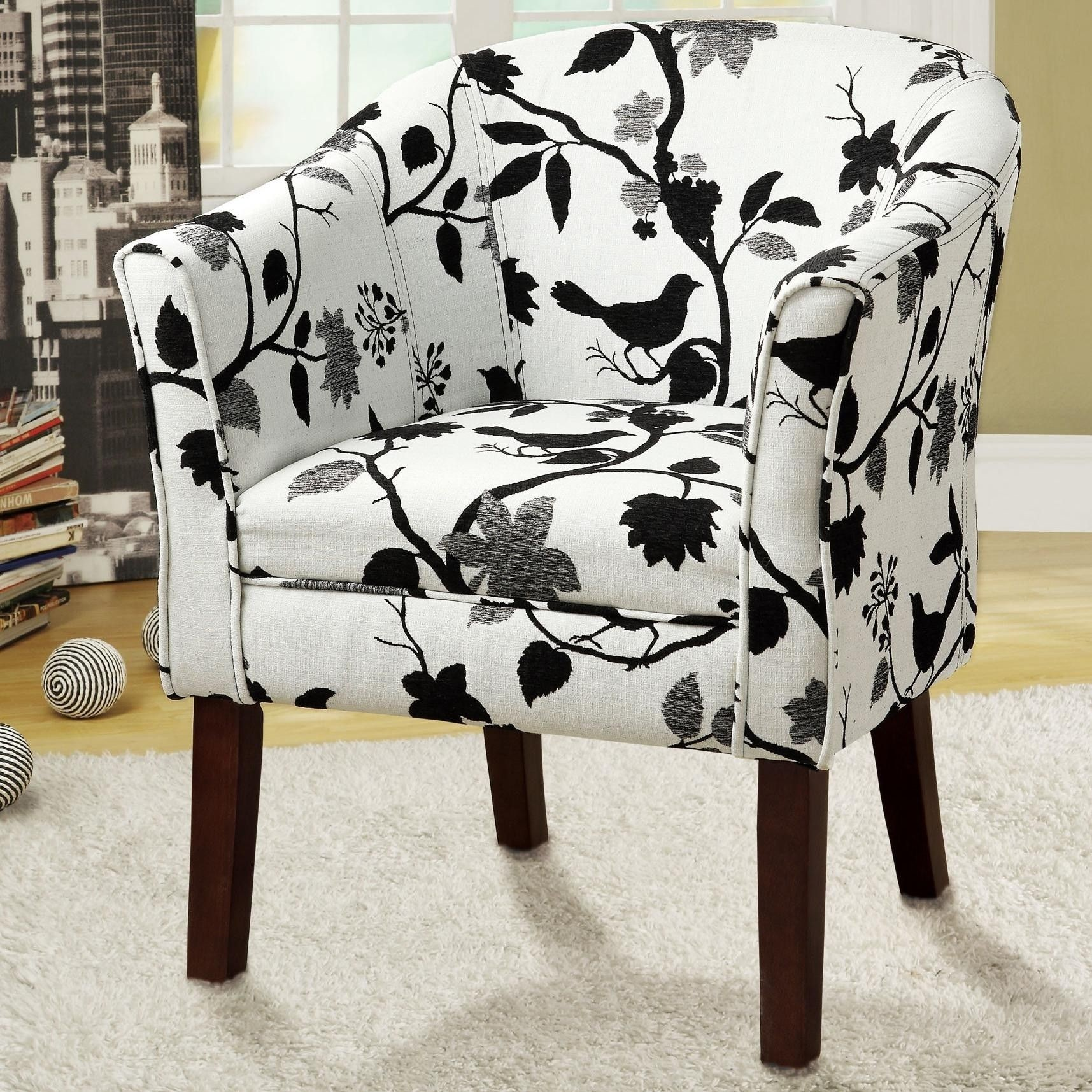 Charmant Coaster Home Furnishings 460406 Bird Pattern Fabric Accent Barrel Chair,  Black And White