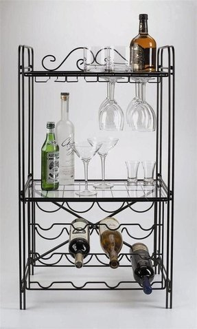 Concept Housewares Metal Wine and Glass Floor Rack, Matte Black