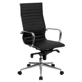Flash Furniture High Back Black Ribbed Upholstered Leather Executive Office Chair