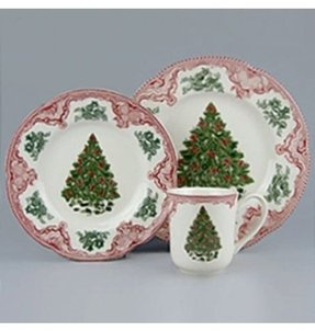 Johnson Brothers Old Britain Castles 12-Piece Christmas Tree Dinnerware Set, Pink and Green