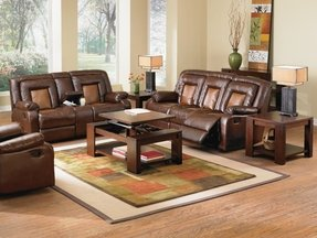 Roundhill Furniture Kmax 2-Toned PU Dual Reclining Loveseat with Storage Console