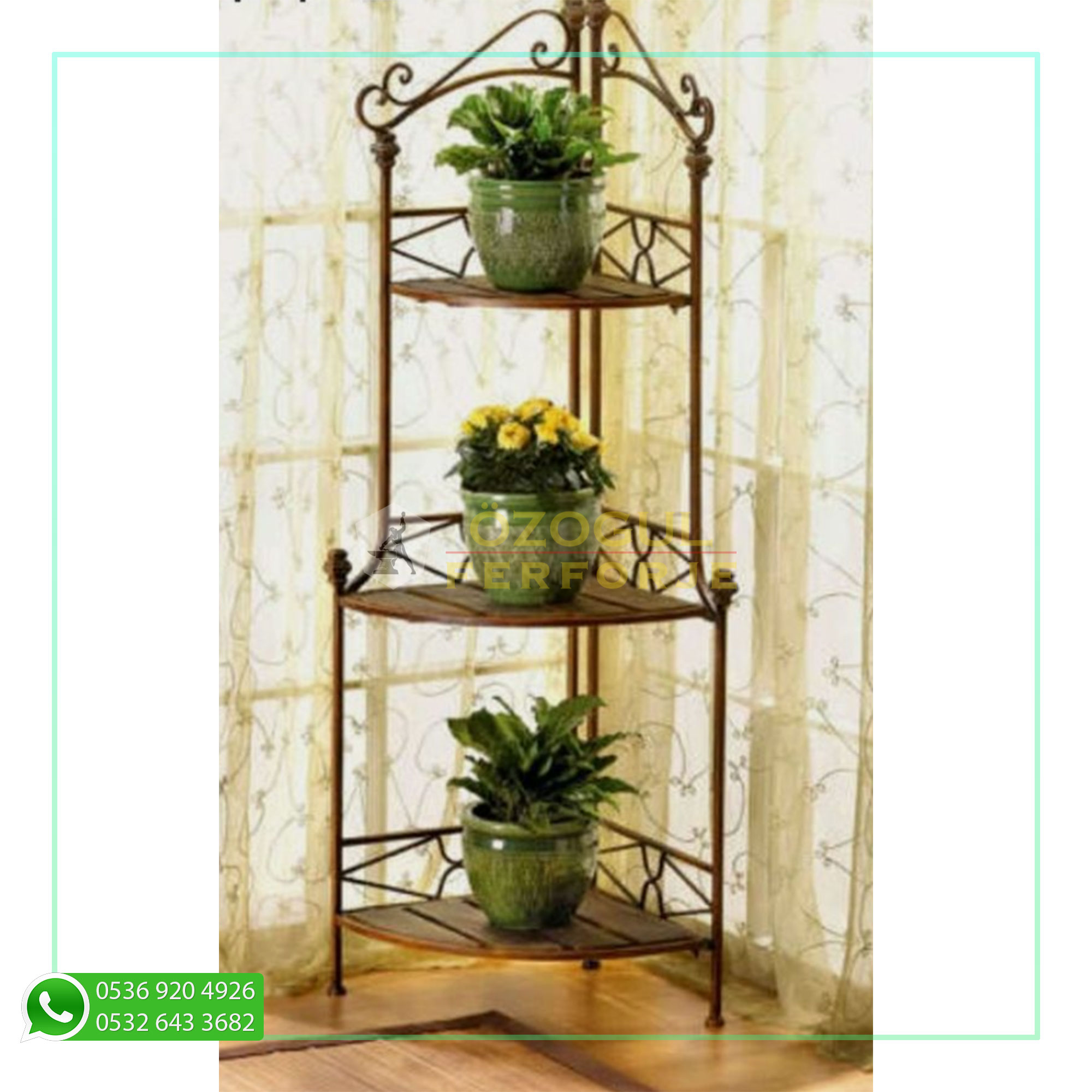Rustic Corner Kitchen Bakers Rack Plant Stand Display