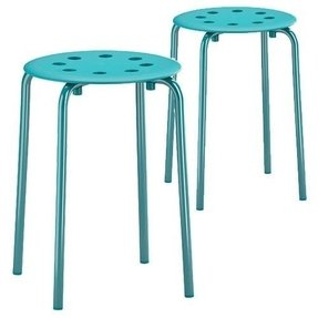 Set of 2 Marius Stools Stackable Turquoise Blue