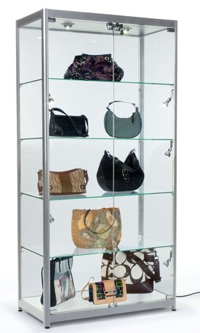 Tempered Gl Curio Cabinet With 8 Halogen Lights 78 X 40 16 5 Inch