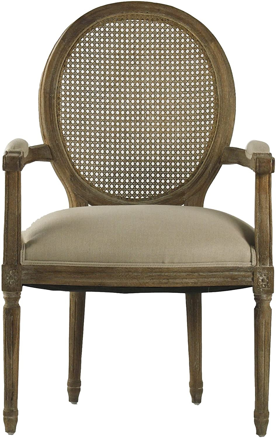 Zentique Medallion Arm Chair With Cane Back, Limed Grey/Oak/Natural Linen